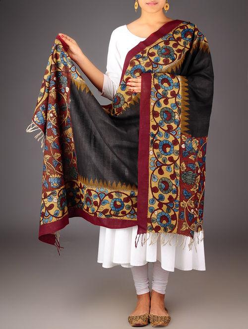 Buy Black Multicolor Cotton Hand Painted Kalamkari Dupatta