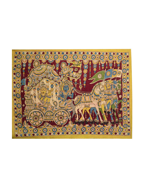 Buy Geethopadesam Kalamkari Wall Art 3ft 8in X 2ft 8in