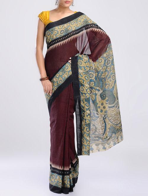 d3903066a4 Buy Maroon-Multi-Color Cotton Ikat Hand Painted Kalamkari Saree ...