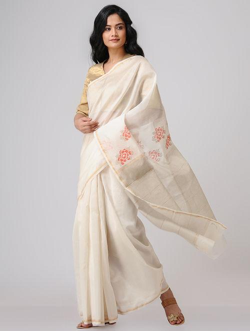8f35c52c0c8 Ivory-Red Block-printed Chanderi Saree with Zari Border The Jaypore  Treasure Trove