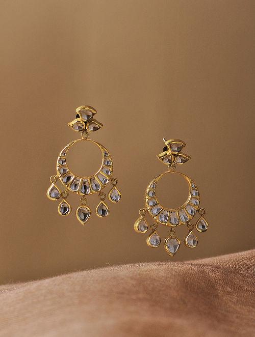 Blue Enameled Diamond Polki Gold Earrings