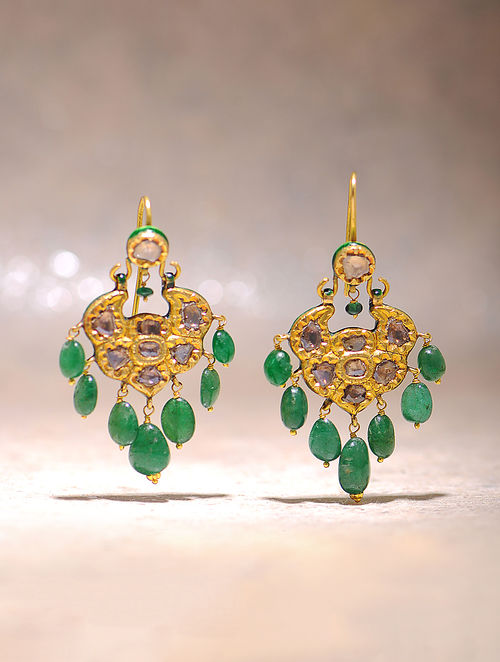 Green Enameled Polki Gold Earrings With Emerald