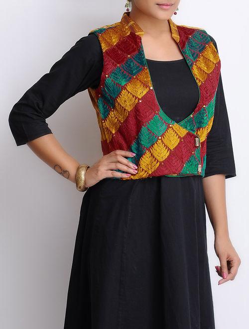 Buy Red Green Orange Phulkari Embroidered Silk Jacket