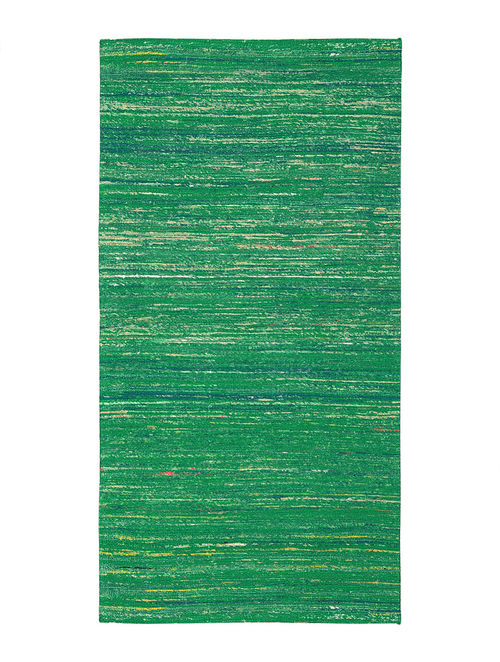 Green Handwoven Silk and Cotton Dhurrie (4.7 x 2.3ft)