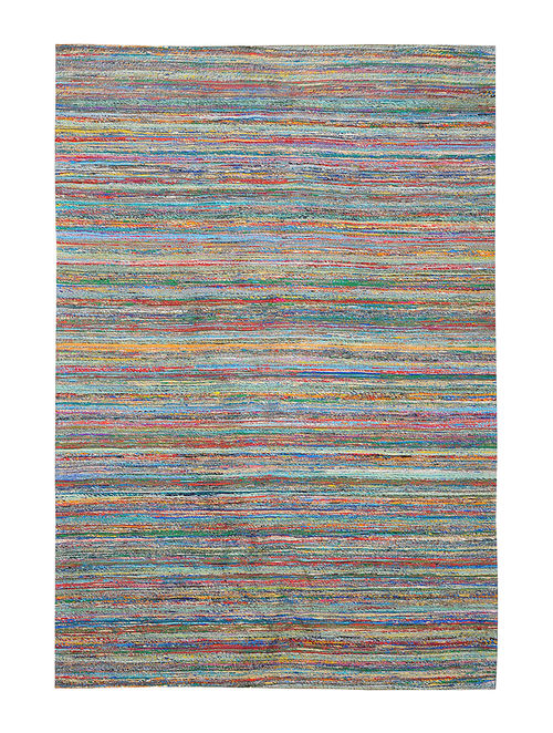 Multicolored Handwoven Silk and Cotton Dhurrie (6ft x 4ft)