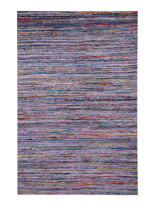 Multicolored Handwoven Silk and Cotton Dhurrie