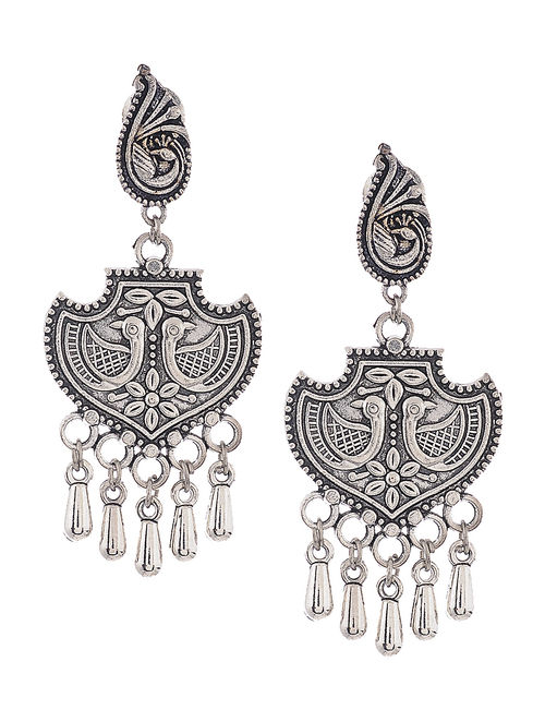 Classic Earrings with Peacock Motif