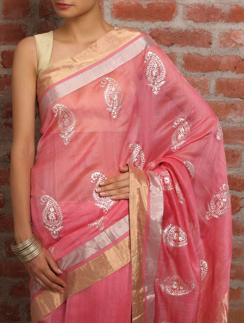 Buy Paisley Pink Chanderi Silk Saree Online At Jaypore Com
