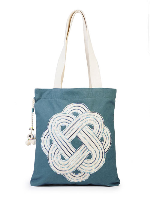 87ba0e503f Buy Blue - Ivory Cotton Canvas Tote with Mandala - Inspired ...