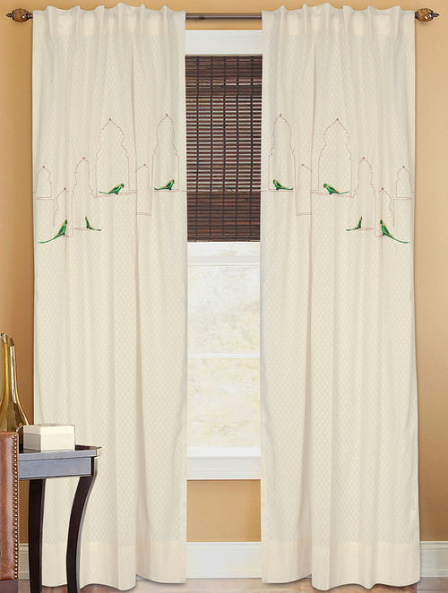 Jharokha Tota Embossed Dori Embroidered And Patchwork Curtain
