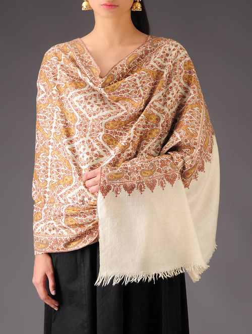 Buy White Brown Paisley Hand Embroidered Pashmina Shawl