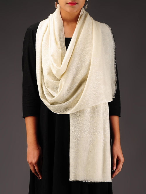 Ivory-White Pashmina Hand Embroidered Stole