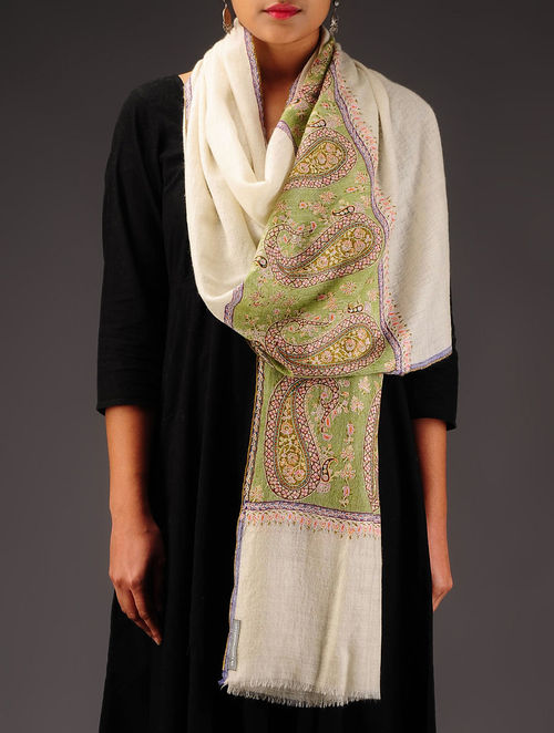 Ivory-Green Pashmina Hand Embroidered Stole