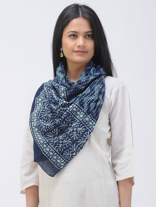Indigo-White Dabu-printed Cotton Mul Stole