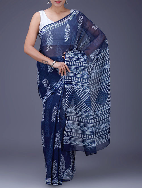 Buy Indigo White Dabu Printed Kota Doria Saree Online At