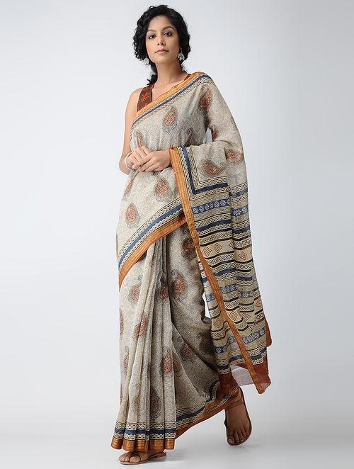 90eb27f2908 Buy Ivory-Red Dabu-printed Chanderi Saree with Zari Online at ...