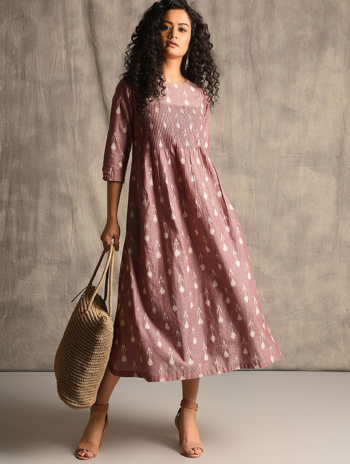 Buy Ivory Red Handloom Ikat Cotton Dress With Pockets