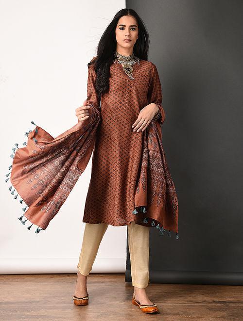 1db3249a678a9 Madder Ajrakh Printed Kali Dress by Jaypore kurta t