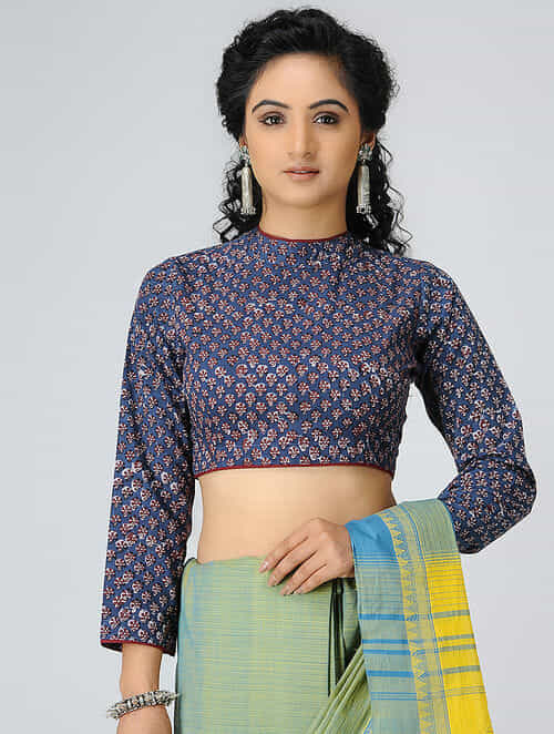 598fe4032dc1b4 Buy Indigo-Madder Block-printed Cotton Blouse Online at Jaypore.com