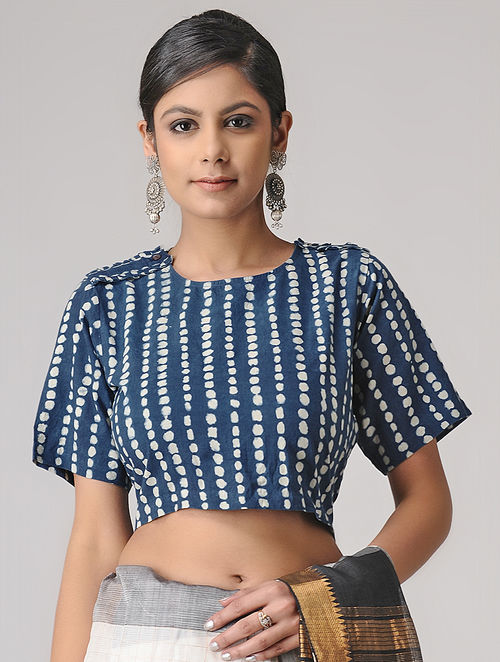 Indigo-Ivory Ajrakh Cotton Blouse by Jaypore