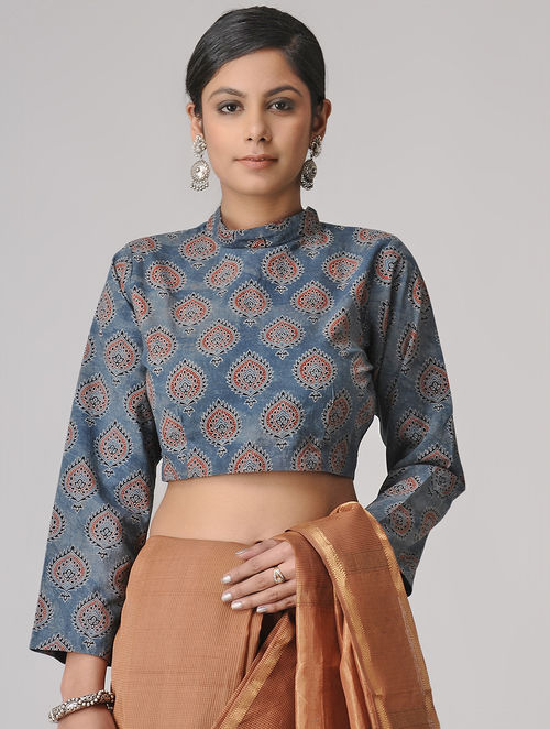 Indigo-Madder Ajrakh Cotton Blouse by Jaypore