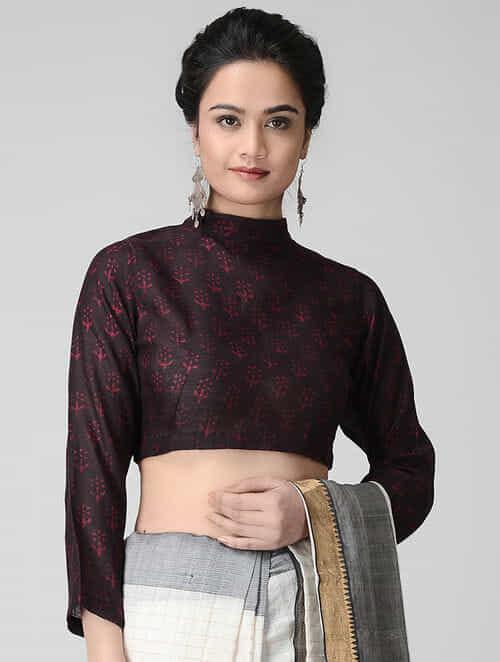 278ba4b87278c1 Buy Black-Maroon Block-printed Cotton Blouse by Jaypore Online at ...
