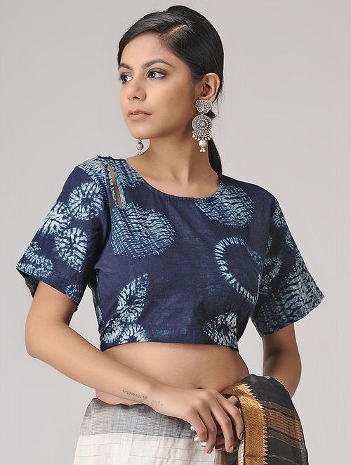 7f53b4237130d Buy Indigo-Ivory Shibori Cotton Blouse by Jaypore Online at Jaypore ...