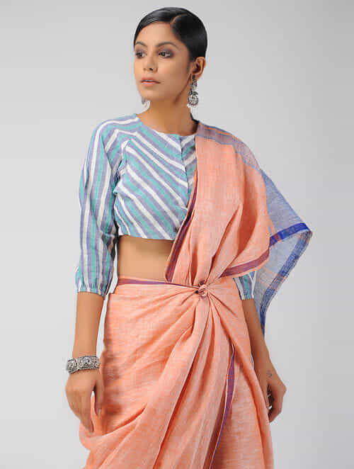 6fdec3dfa470f8 Buy Blue-Ivory Handloom Cotton Blouse Online at Jaypore.com