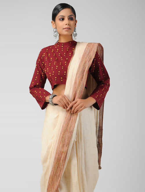 1ab631f9d79 Maroon Block-printed Cotton Blouse with Tie-up. The Jaypore Label