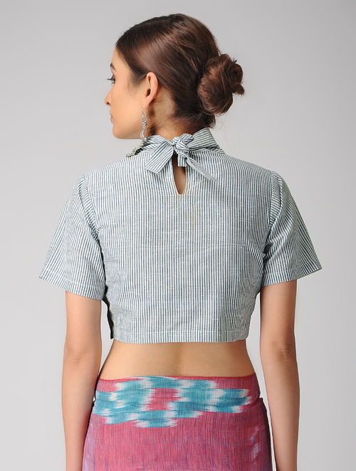 63ae48e17b4916 Buy Ivory-Blue Handloom Cotton Tie-up Blouse Online at Jaypore.com