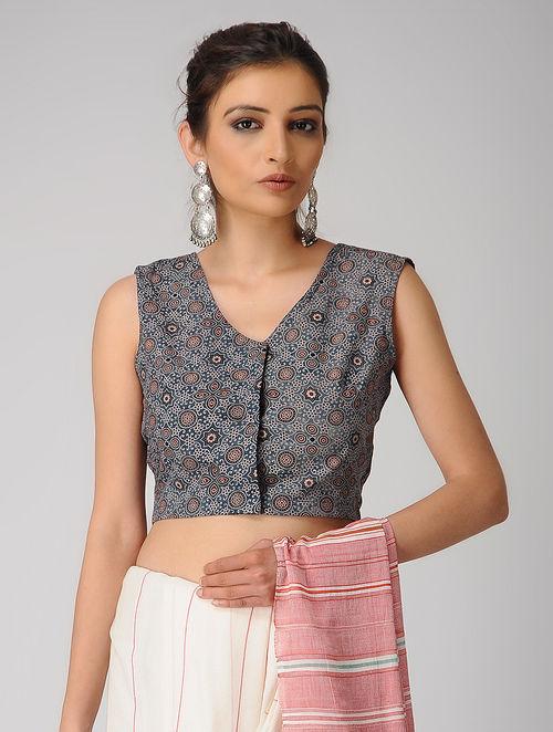 393670ad17f13 Buy Indigo-Ivory Ajrakh Cotton Blouse Online at Jaypore.com