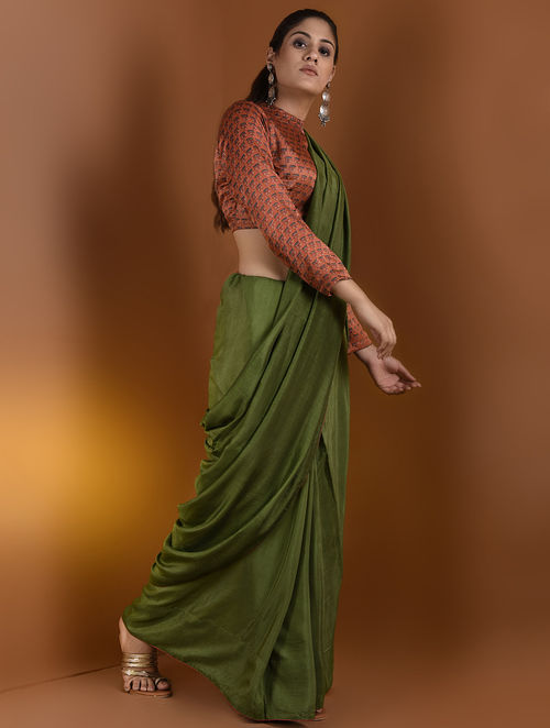 54370e8b9e1f0 Buy Rust-Indigo Ajrakh Gajji Silk Blouse by Jaypore-M Online at ...
