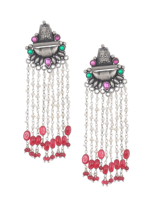 e20036a0b Buy Pink-Green Tribal Silver Earrings with Pearls Online at Jaypore.com