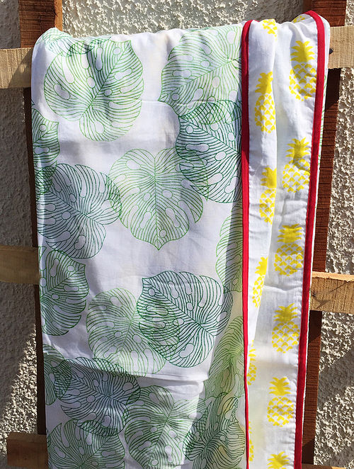 Green-Yellow Block-printed Cotton Double Dohar with Palm Motif (108in x 88in)