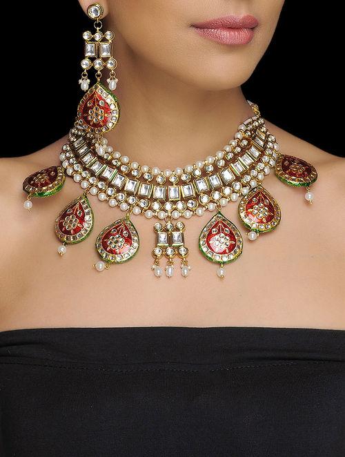 Buy Red Green Floral Kundan Meenakari Necklace And