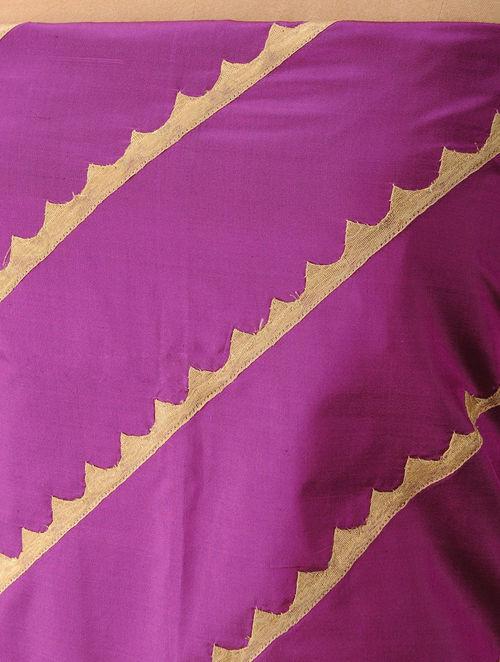 Purple - Golden Silk Patchwork Blouse Piece