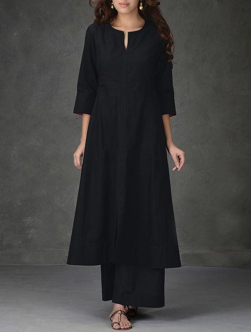 buy black aline khadi cotton kurta with tagai work online