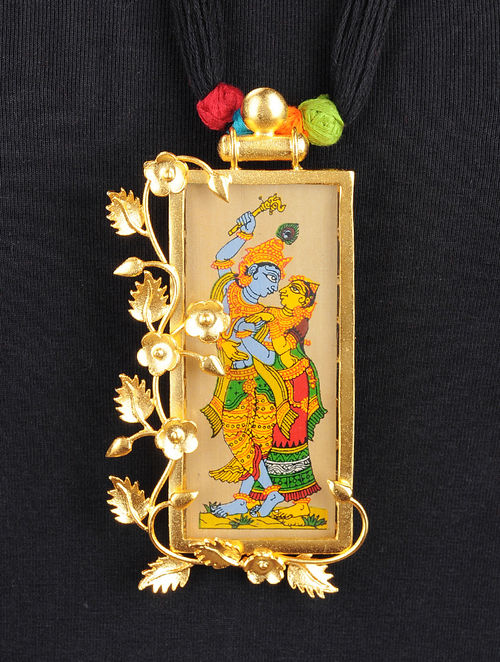 Buy black thread necklace with radha krishna motif on gold plated black thread necklace with radha krishna motif on gold plated pendant aloadofball Gallery