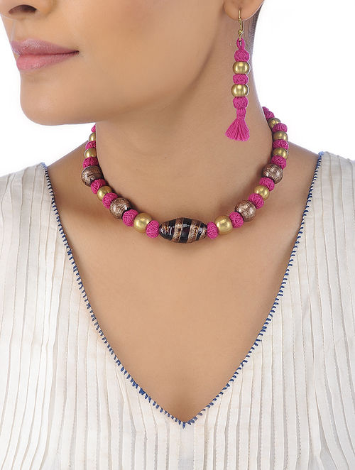 f71729faa Pink Cotton Yarn Brass Beaded Necklace with a Pair of Earrings (Set of 2)