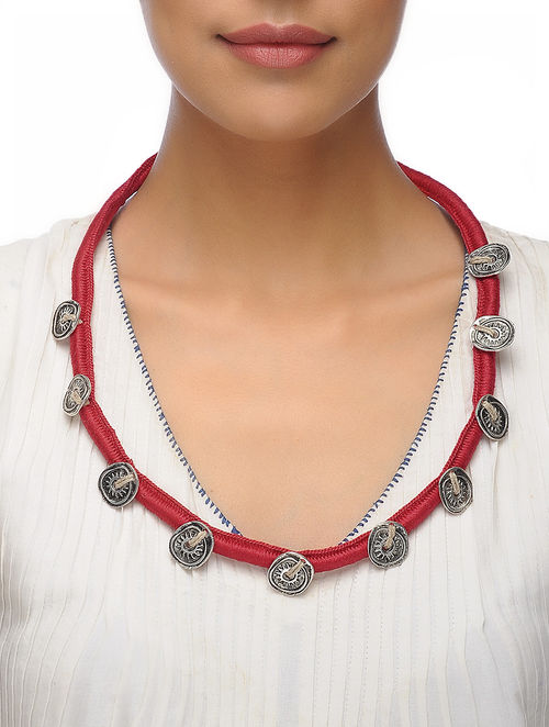 thread necklace navodyami home red for silk lovers