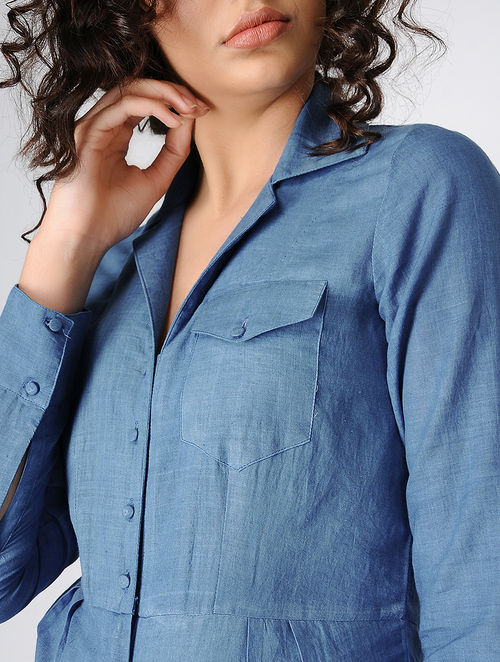 2bceeb25f41 Buy Blue Natural-dyed Handwoven Khadi Jumpsuit Online at Jaypore ...