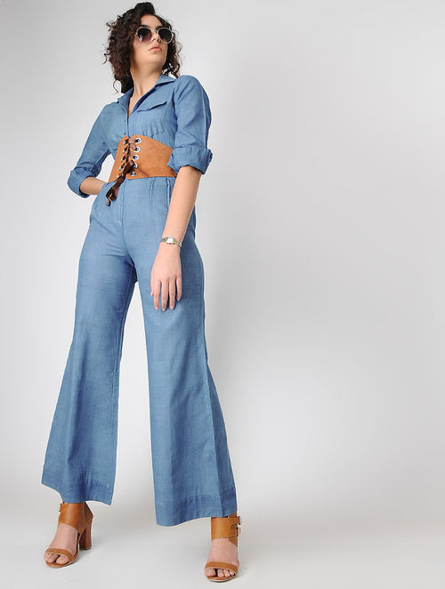 35665b974bb Buy Blue Natural-dyed Handwoven Khadi Jumpsuit Online at Jaypore.com