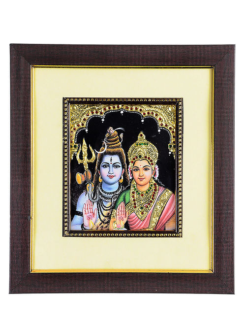 Buy Framed Lord Shiva and Goddess Parvati Tanjore Painting  : mdtarj000281905 17 from www.jaypore.com size 500 x 662 jpeg 88kB