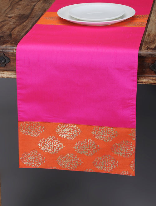 Pink Orange Foil Printed Silk Table Runner
