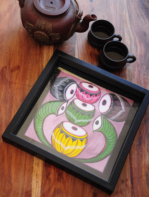 Tabla Design Pattachitra Painting Wooden Tray 10in x 10in