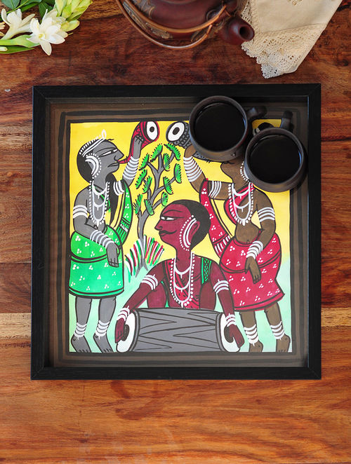 Women Design Pattachitra Painting Wooden Tray 13in x 12.5in