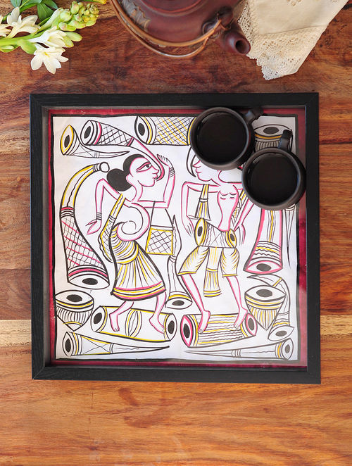 Women Design Pattachitra Painting Wooden Tray 12.5in x 12.5in