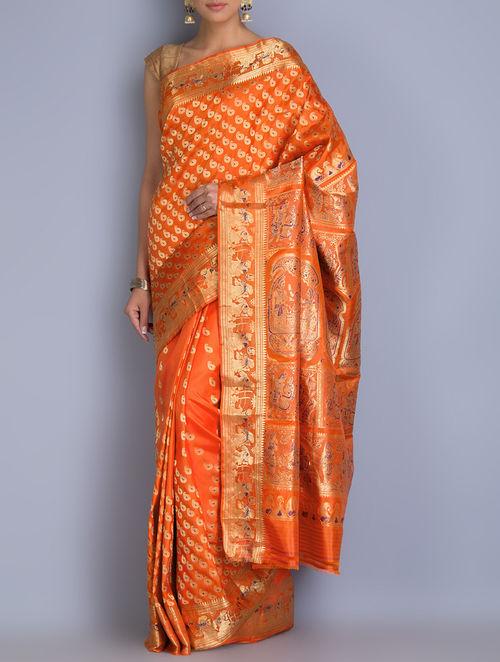 Buy Orange Swarnachari Silk Saree Online At Jaypore Com