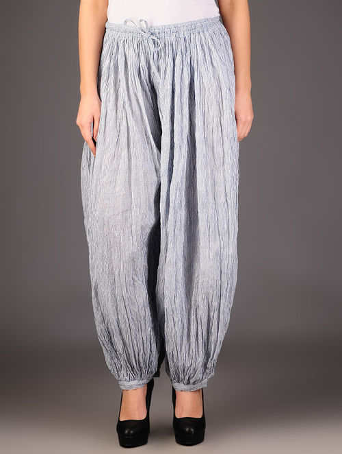 White - Blue Stripes Handblock Printed Elasticated Cotton Harem Pants