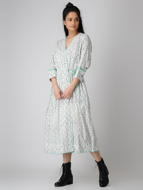 a7686cfb5d Buy White-Green Block-printed Tie-up Waist Cotton Dress Online at ...